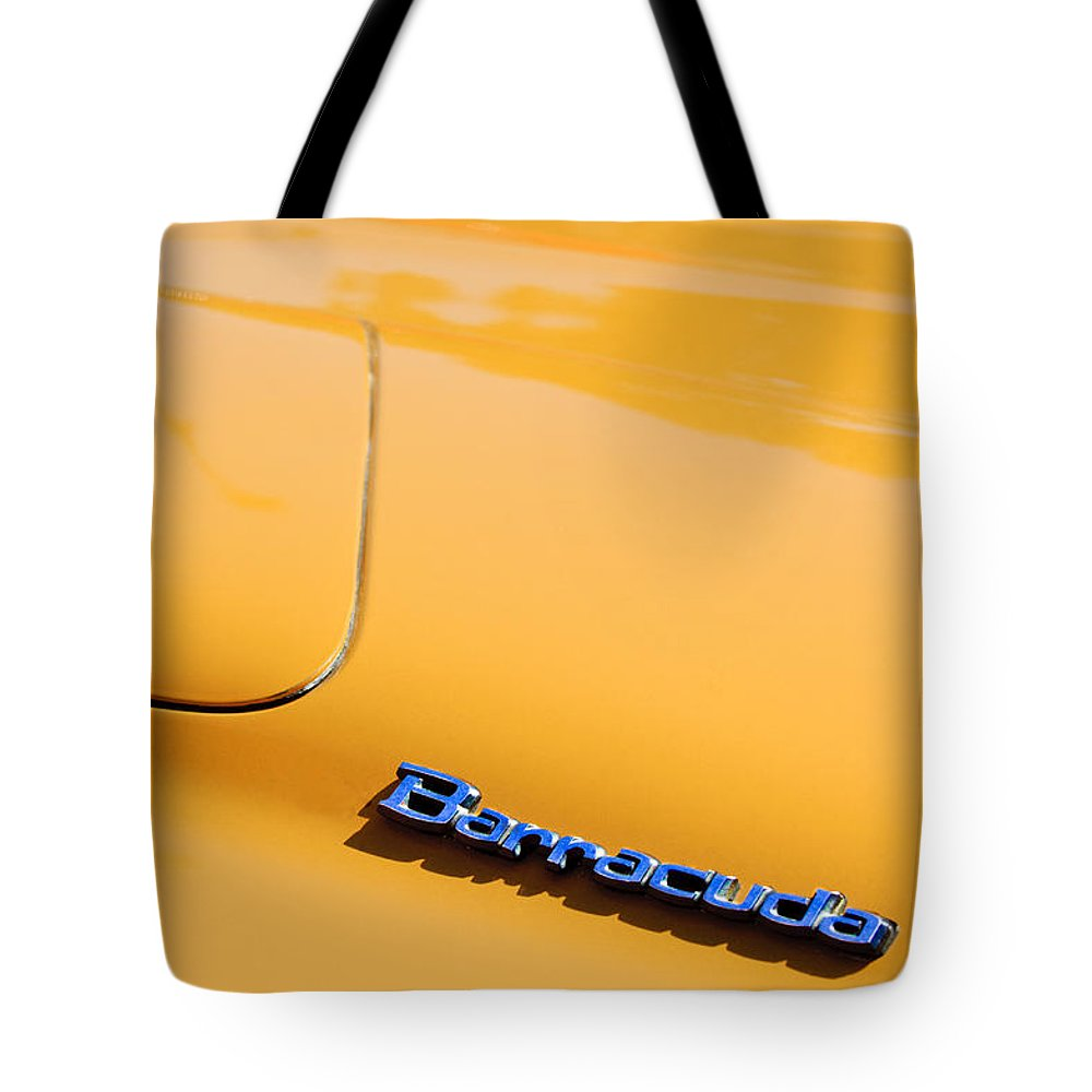 1971 Plymouth Barracuda Convertible Hood Emblem Tote Bag featuring the photograph 1971 Plymouth Barracuda Convertible Hood Emblem by Jill Reger