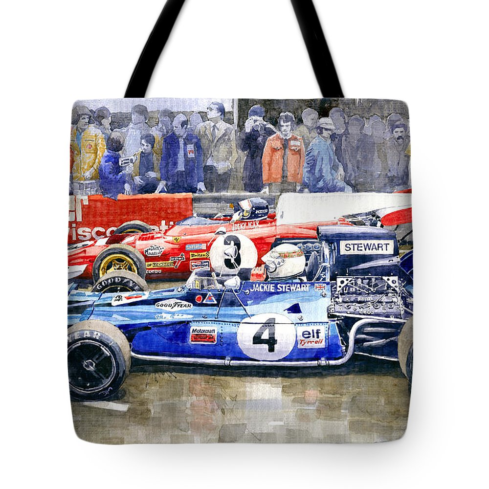 Watercolor Tote Bag featuring the photograph 1972 French Gp Jackie Stewart Tyrrell 003 Jacky Ickx Ferrari 312b2 by Yuriy Shevchuk
