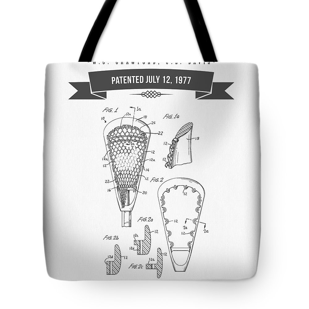 Lacross Stick Tote Bag featuring the digital art 1977 Lacross Stick Patent Drawing - Retro Gray by Aged Pixel