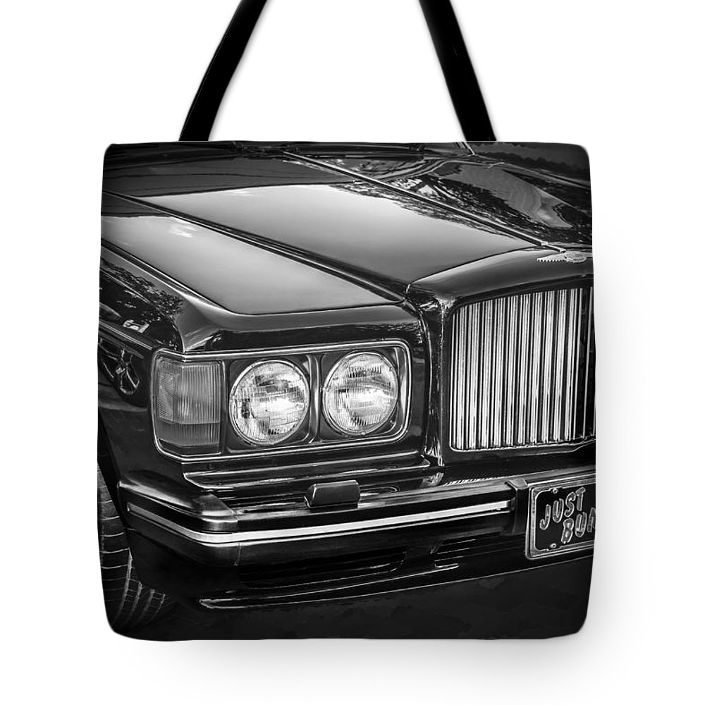 1990 Bentley Tote Bag featuring the photograph 1990 Bentley Turbo R Bw by Rich Franco