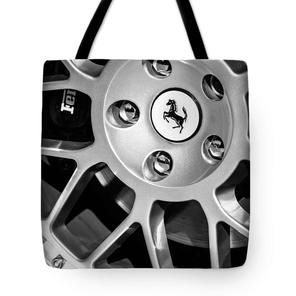 1997 Ferrari F 355 Spider Wheel Emblem Tote Bag featuring the photograph 1997 Ferrari F 355 Spider Wheel Emblem -125bw by Jill Reger