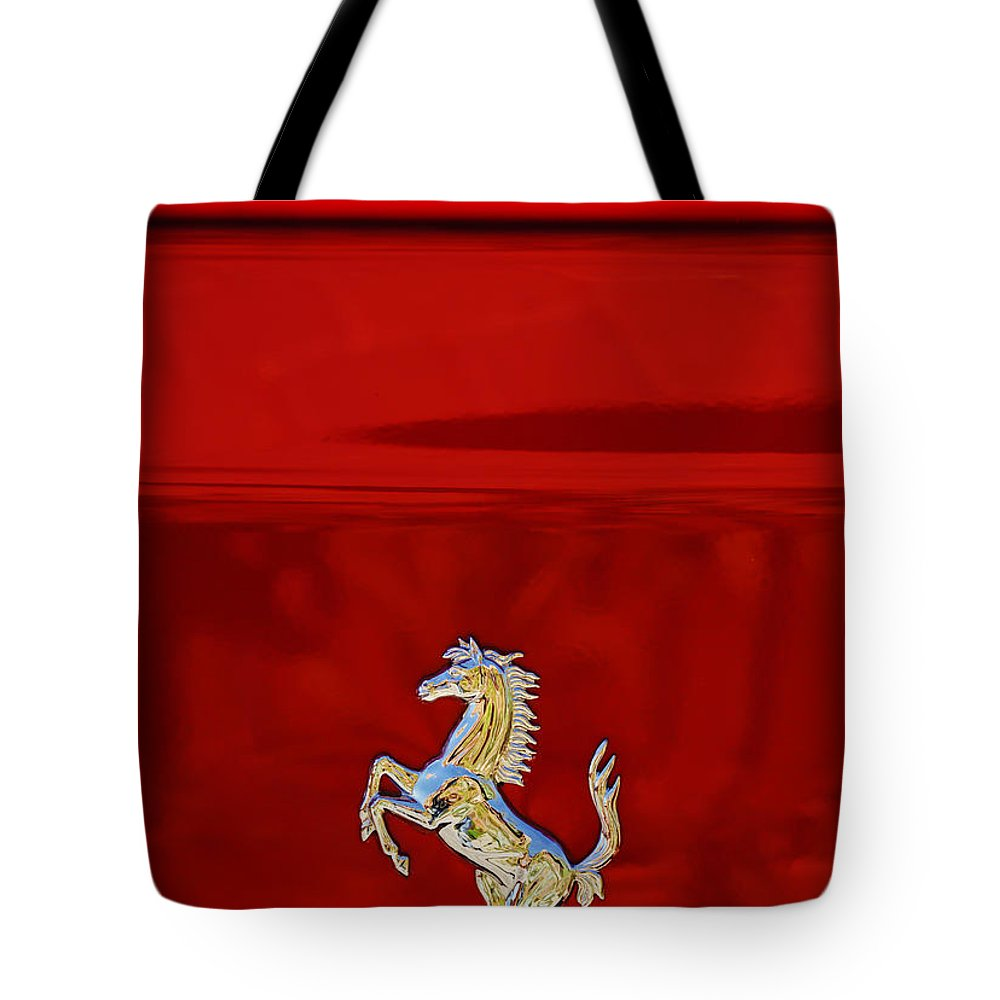 1999 Ferrari 550 Maranello Emblem Tote Bag featuring the photograph 1999 Ferrari 550 Maranello Emblem -651c by Jill Reger