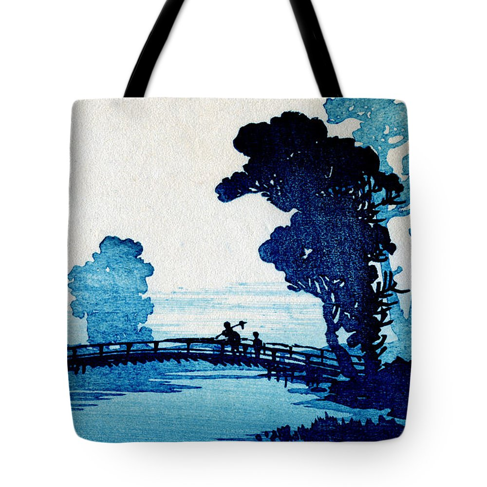 Historicimage Tote Bag featuring the painting 19th C. Japanese Father And Son Crossing Bridge by Historic Image