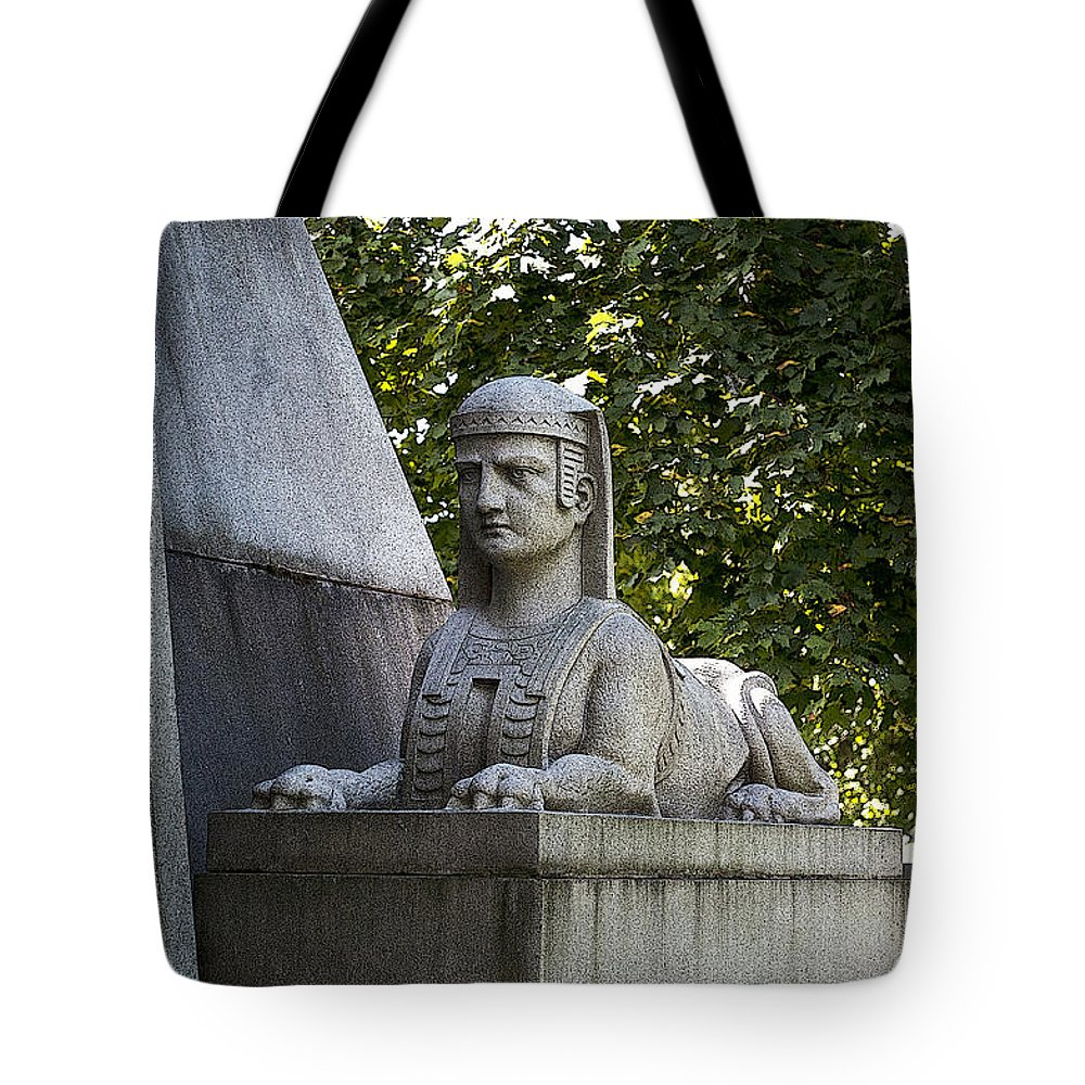 Poster Tote Bag featuring the photograph 19th Century Granite Stone Sphinx Pyramid Color Poster Look Usa by Sally Rockefeller