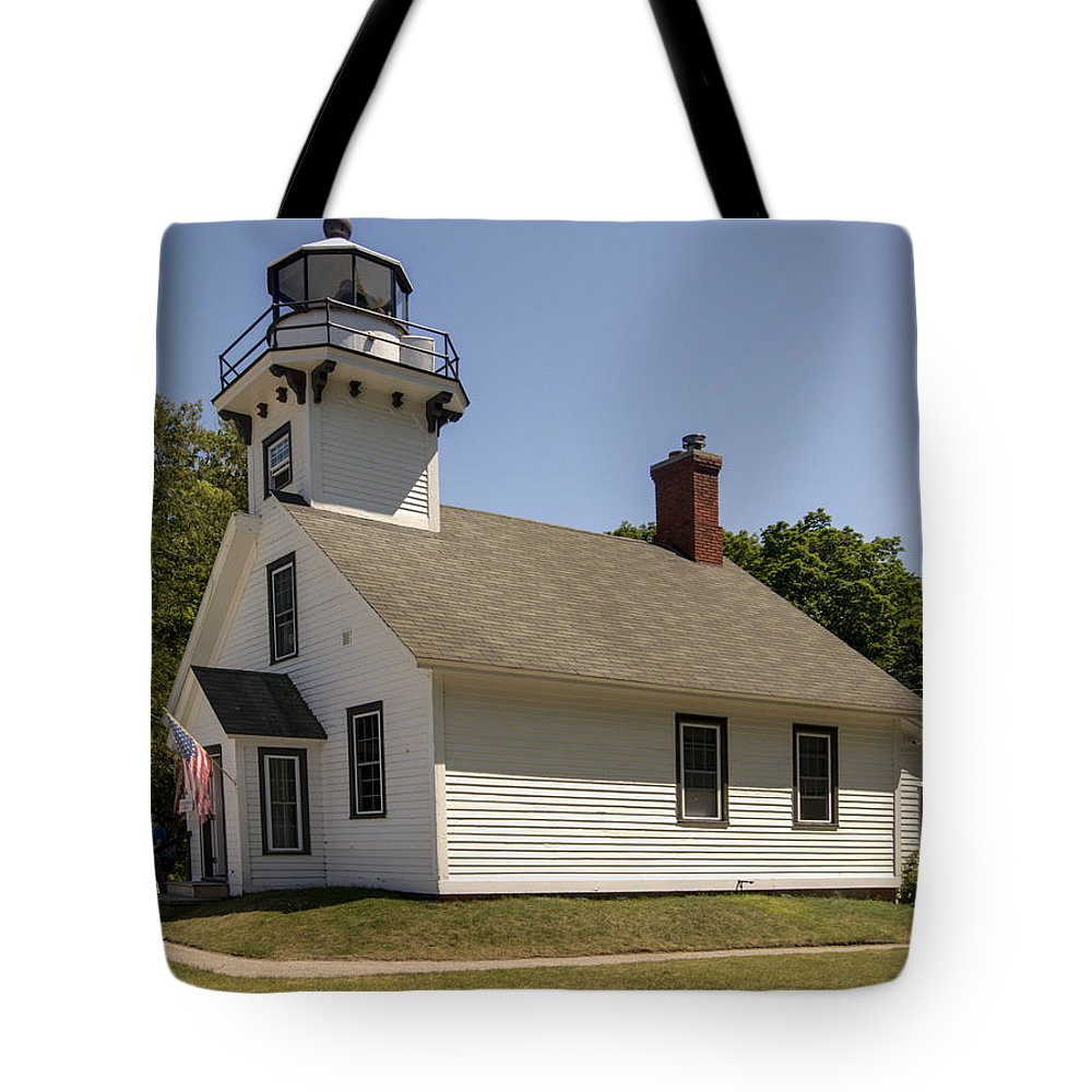 1870 Mission Point Lighthouse Tote Bag featuring the photograph 1870 Mission Point Lighthouse by Paul Cannon