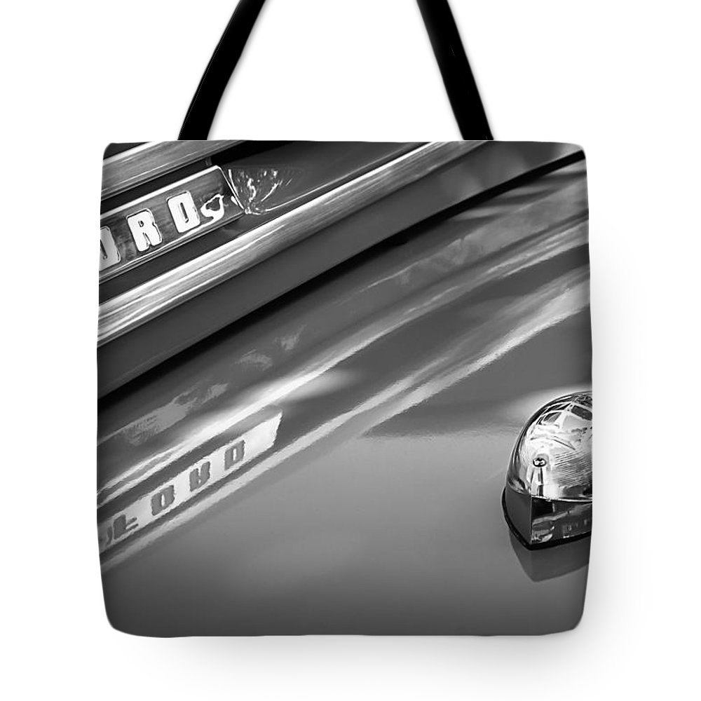 1949 Ford F-1 Pickup Truck Emblem Tote Bag featuring the photograph 1949 Ford F-1 Pickup Truck Emblem -0027bw by Jill Reger