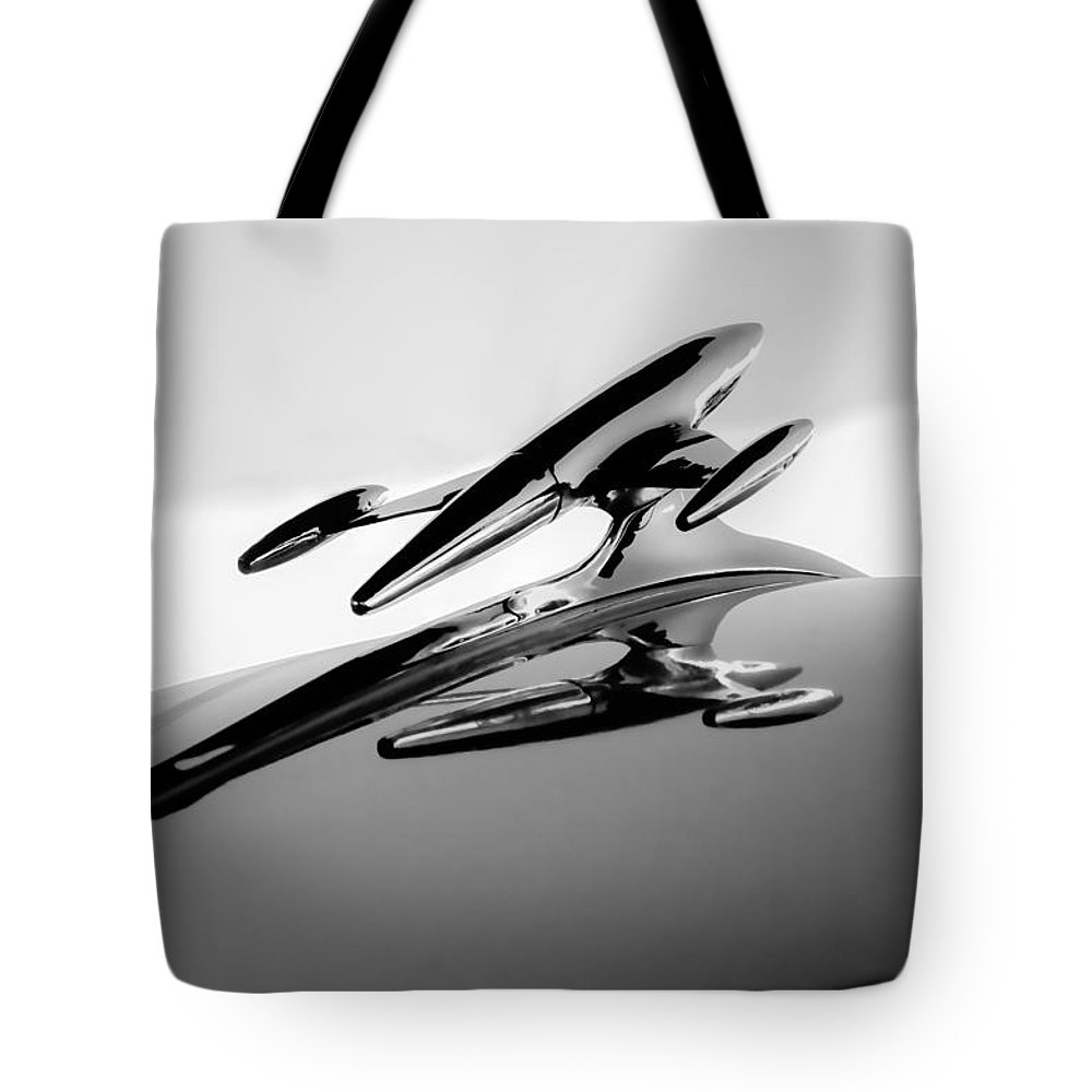 1954 Gmc 100 Pickup Hood Ornament Tote Bag featuring the photograph 1954 Gmc 100 Pickup Hood Ornament by Jill Reger