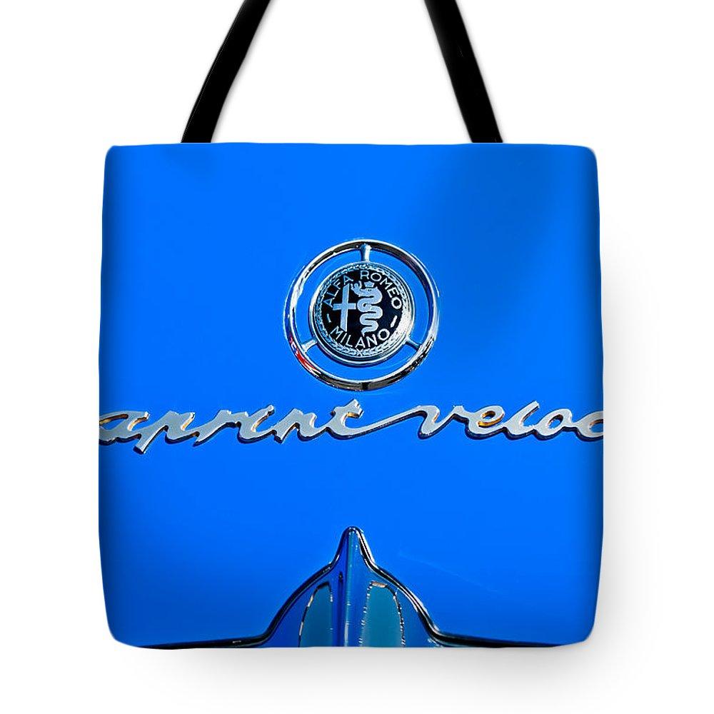 1956 Alfa Romeo Sprint Veloce Coupe Emblem Tote Bag featuring the photograph 1956 Alfa Romeo Sprint Veloce Coupe Emblem by Jill Reger