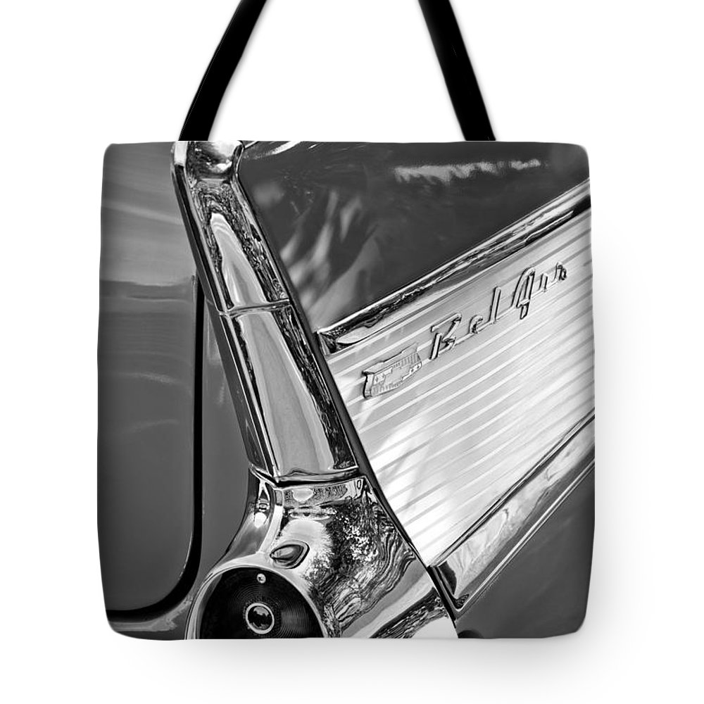 1957 Chevrolet Belair Taillight Tote Bag featuring the photograph 1957 Chevrolet Belair Taillight by Jill Reger