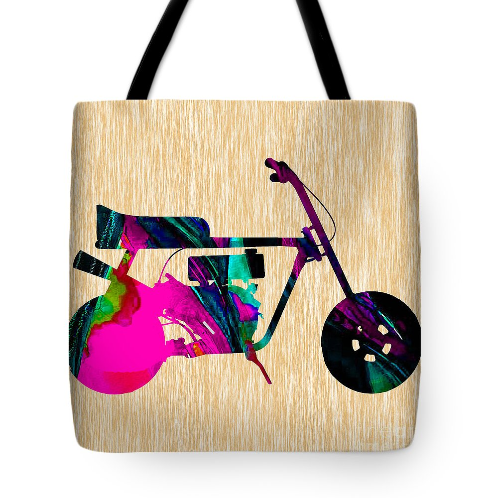 Mini Bike Tote Bag featuring the mixed media 1960s Mini Bike by Marvin Blaine