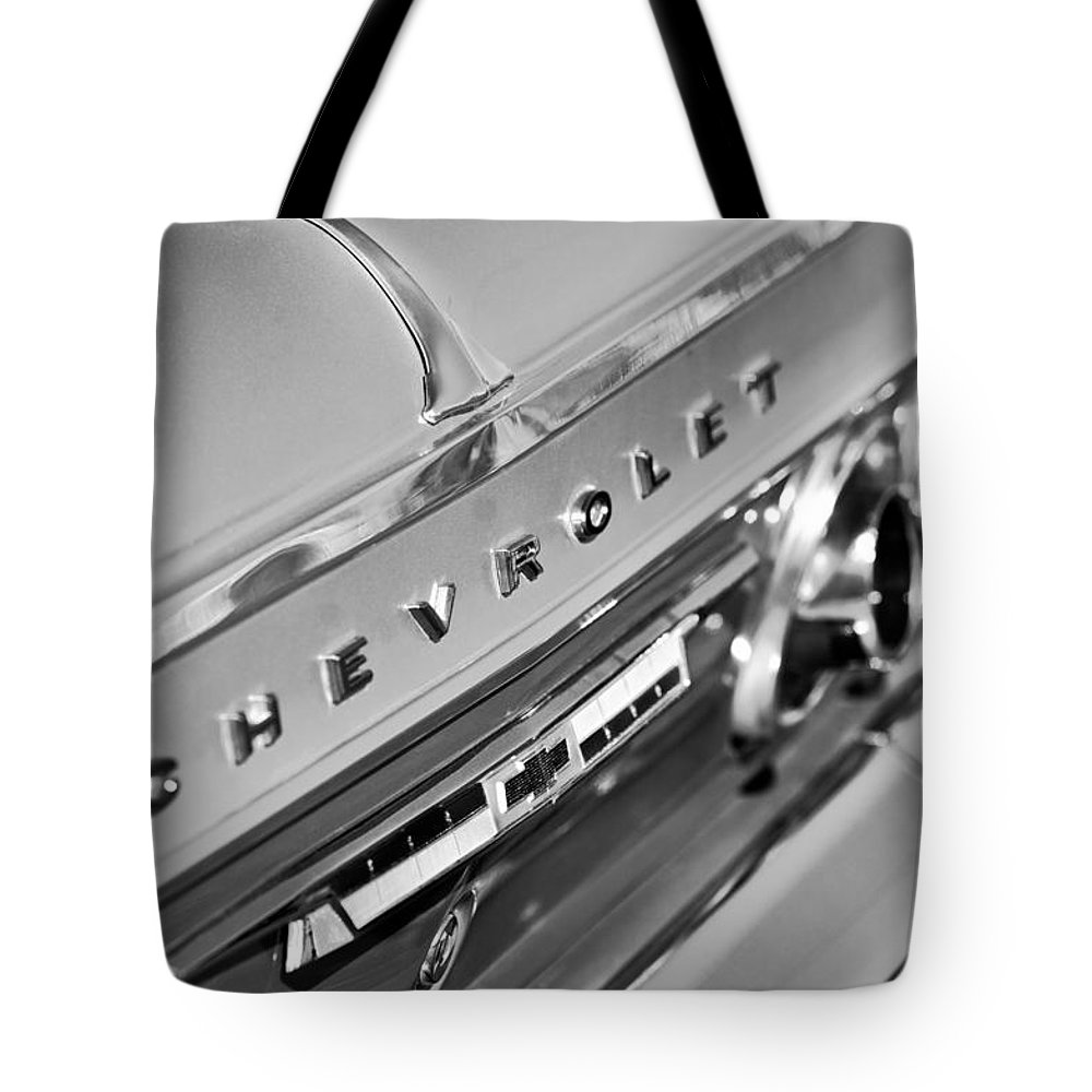 1964 Chevrolet Impala Tote Bag featuring the photograph 1964 Chevrolet Impala Taillights And Emblems by Jill Reger