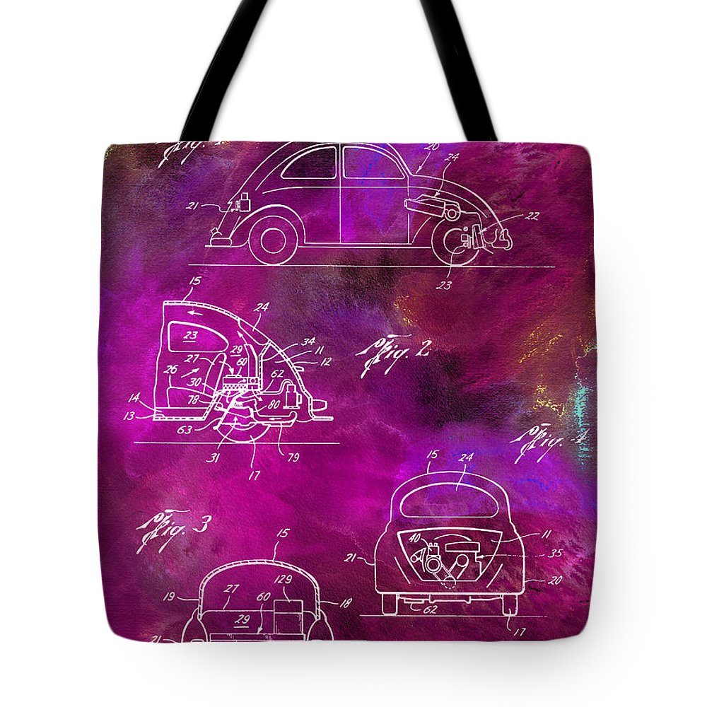 Vw Tote Bag featuring the photograph 1968 Vw Patent Drawing by Jon Neidert