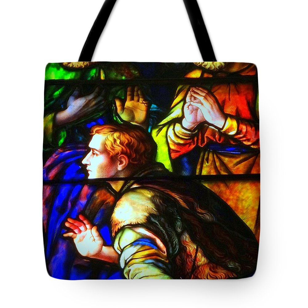 Stained Glass Tote Bag featuring the photograph 3 Men by Ed Weidman