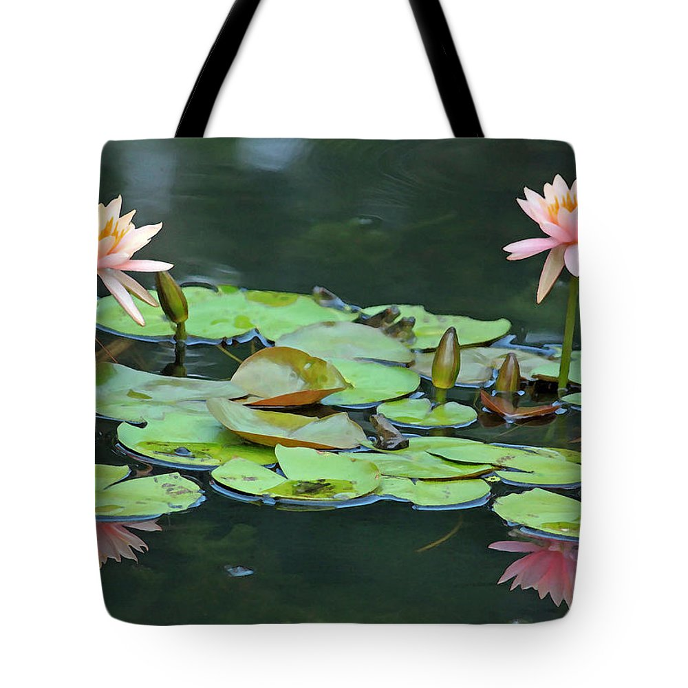 Digital Art Print Tote Bag featuring the photograph A Day At The Lily Pond by Suzanne Gaff