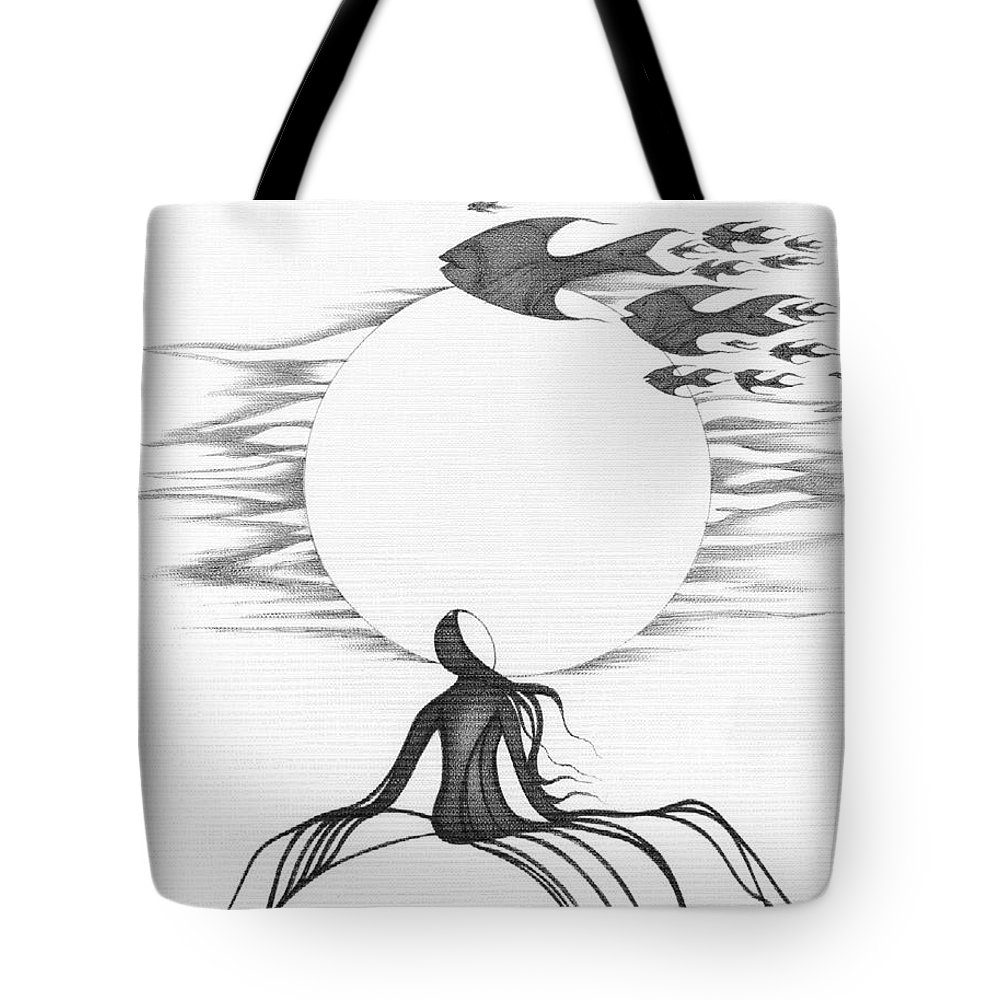 Tote bag drawing - Abstract Tote Bag Featuring The Painting Abstract Art Figurative Fish Black And White Drawing Goin South