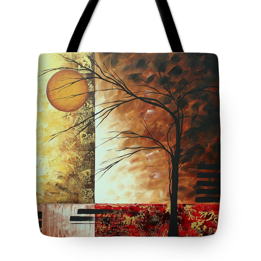 Decorative Tote Bag featuring the painting Abstract Gold Textured Landscape Painting By Madart by Megan Duncanson