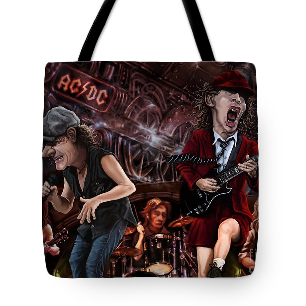 Ac/dc Tote Bag featuring the digital art Ac/dc by Andre Koekemoer