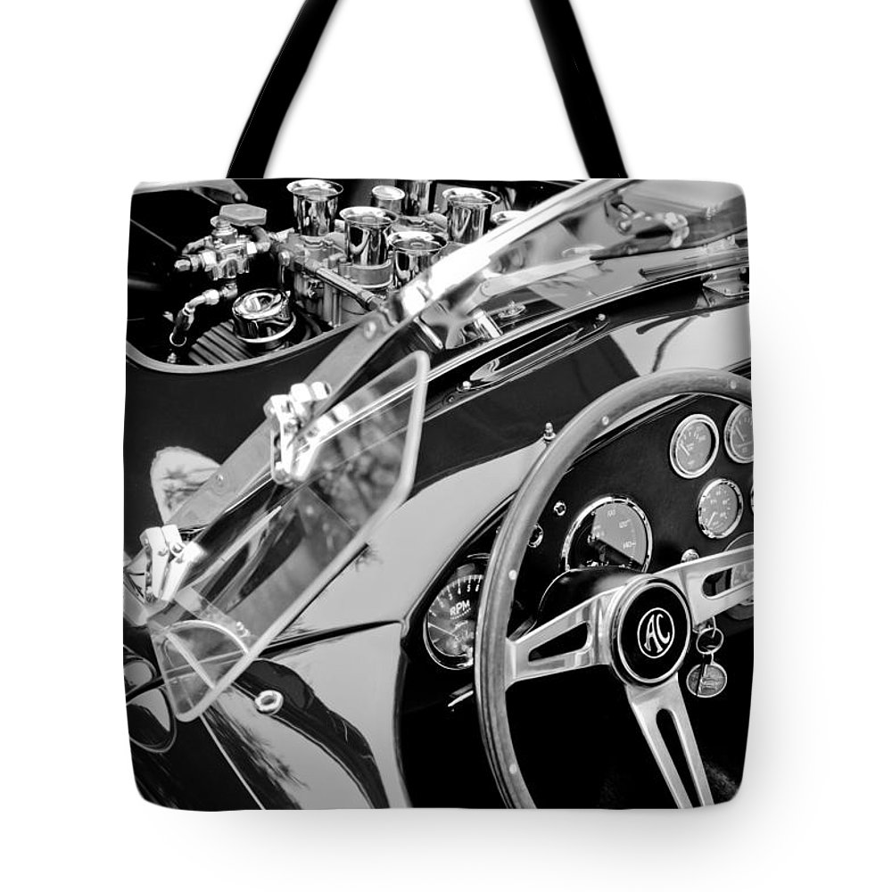 Ac Shelby Cobra Engine - Steering Wheel Tote Bag featuring the photograph Ac Shelby Cobra Engine - Steering Wheel by Jill Reger