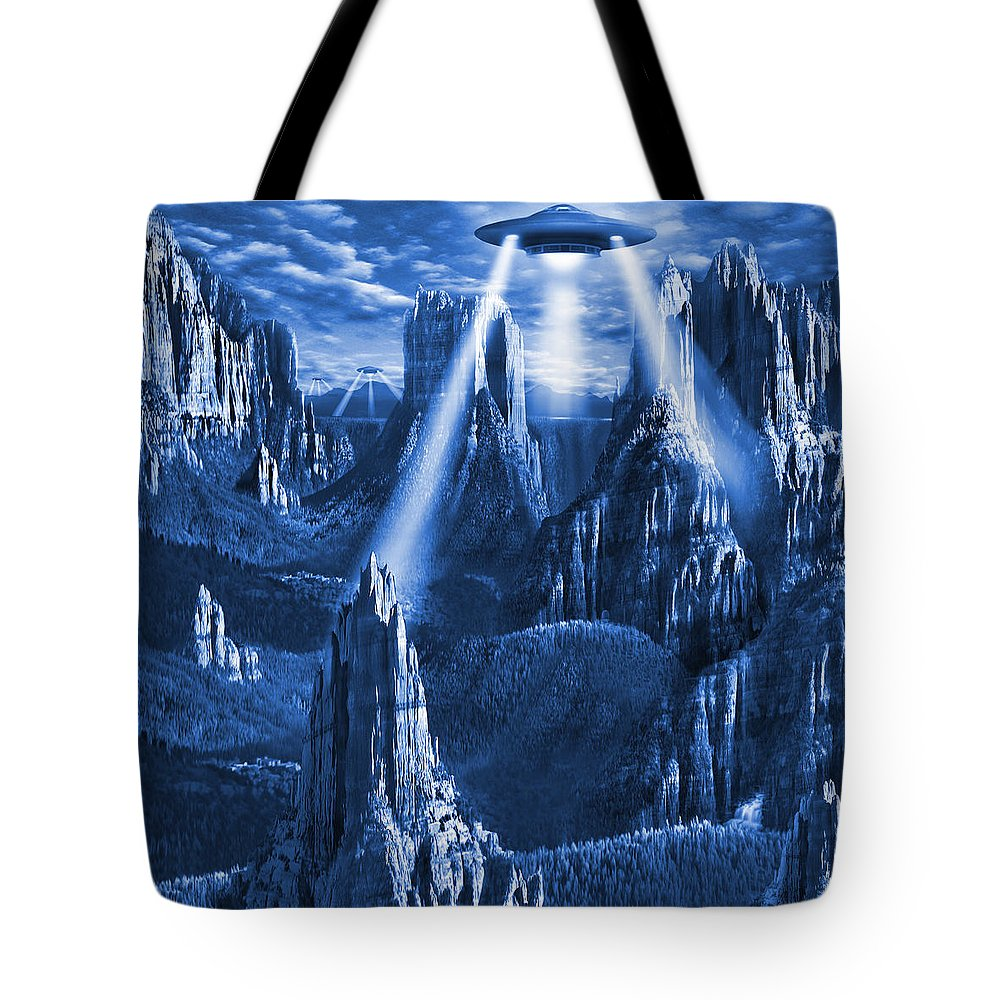 Square Tote Bag featuring the photograph Alien Planet In Blue by Mike McGlothlen