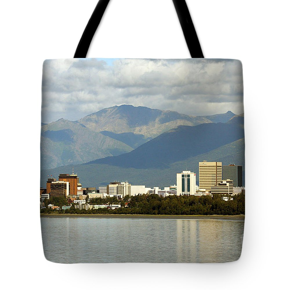 Alaska Tote Bag featuring the photograph Anchorage Skyline by Bill Cobb