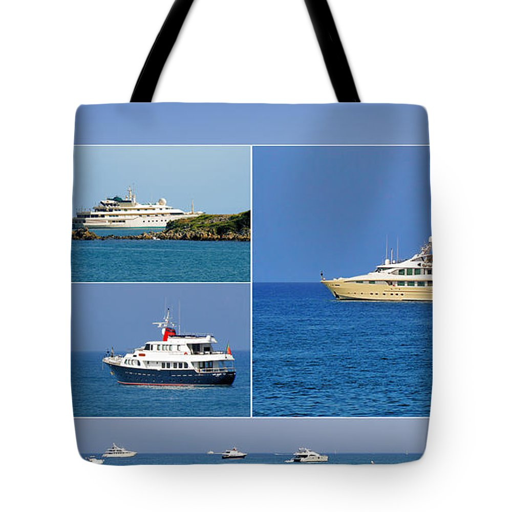 Port Tote Bag featuring the photograph Antibes - Superyachts Of Billionaires by Christine Till