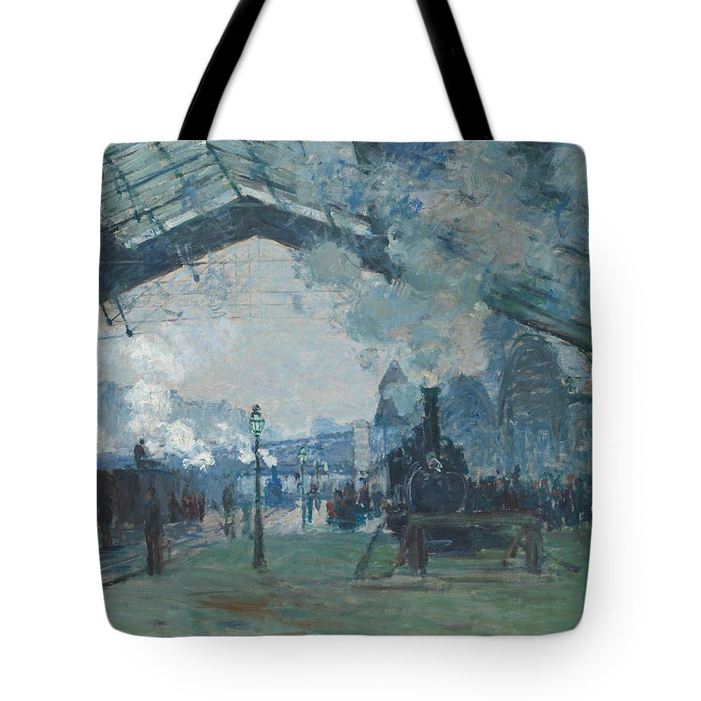 Claude Monet Tote Bag featuring the painting Arrival Of The Normandy Train by Claude Monet