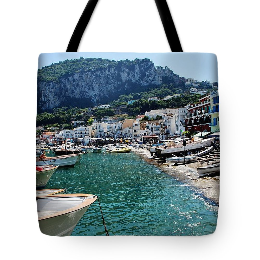 Capri Tote Bag featuring the photograph Arrival To Capri by Dany Lison