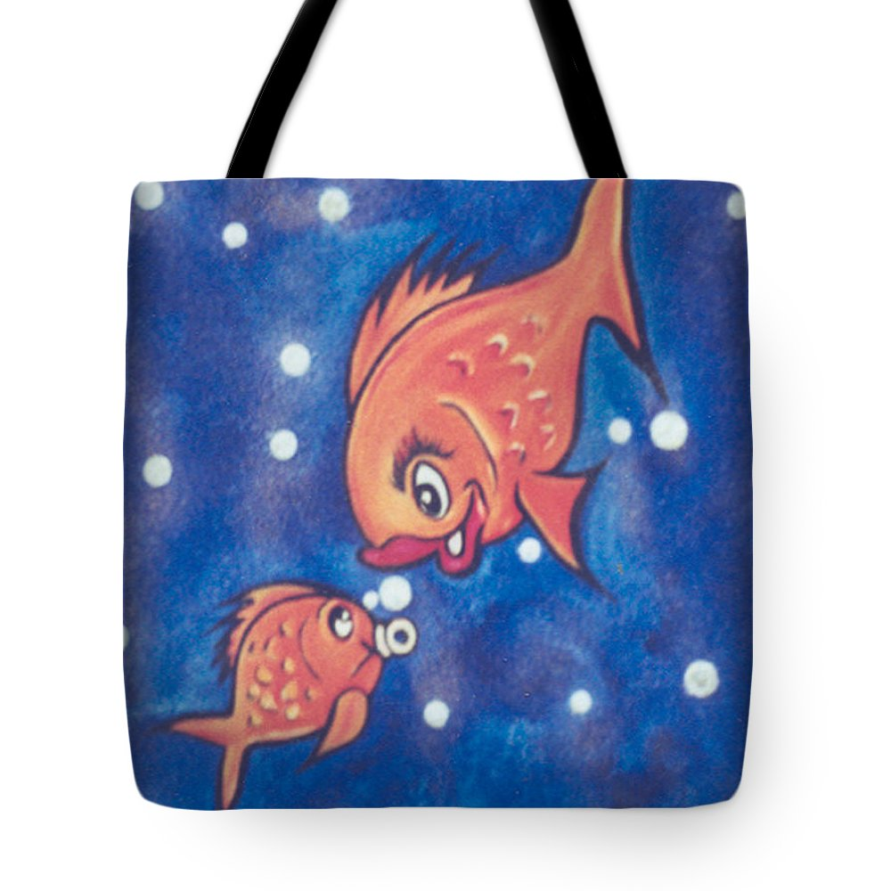 Pikotine Tote Bag featuring the painting Fish Art by Pikotine Art