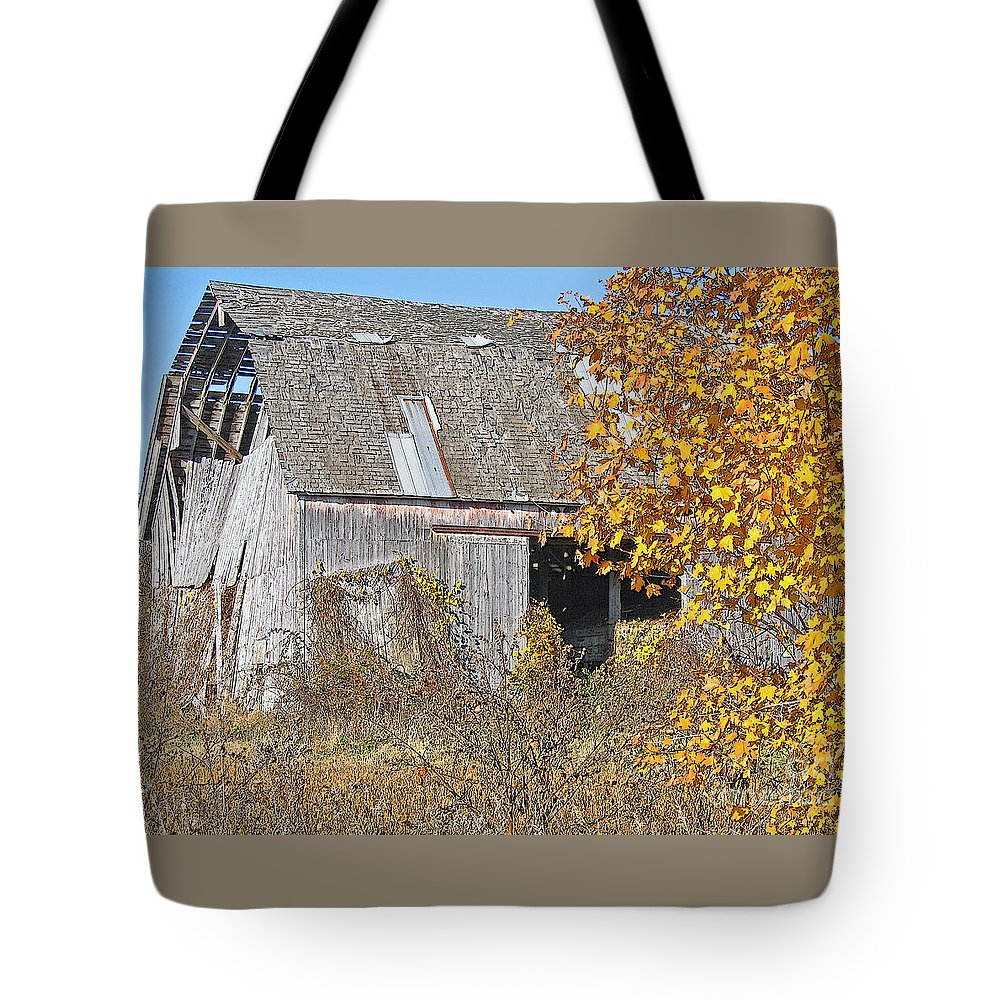 Vintage Tote Bag featuring the photograph Autumn Barn by Ann Horn
