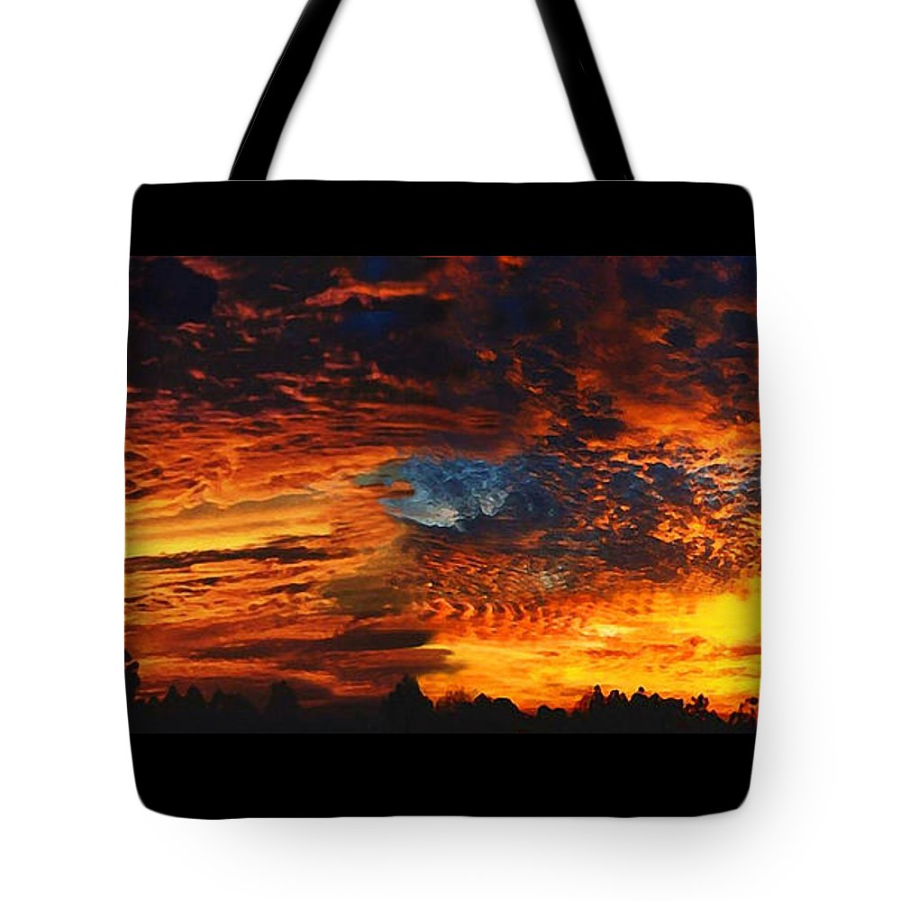 Awe Inspiring Sunset Tote Bag featuring the painting Awe Inspiring Sunset by Ellen Henneke