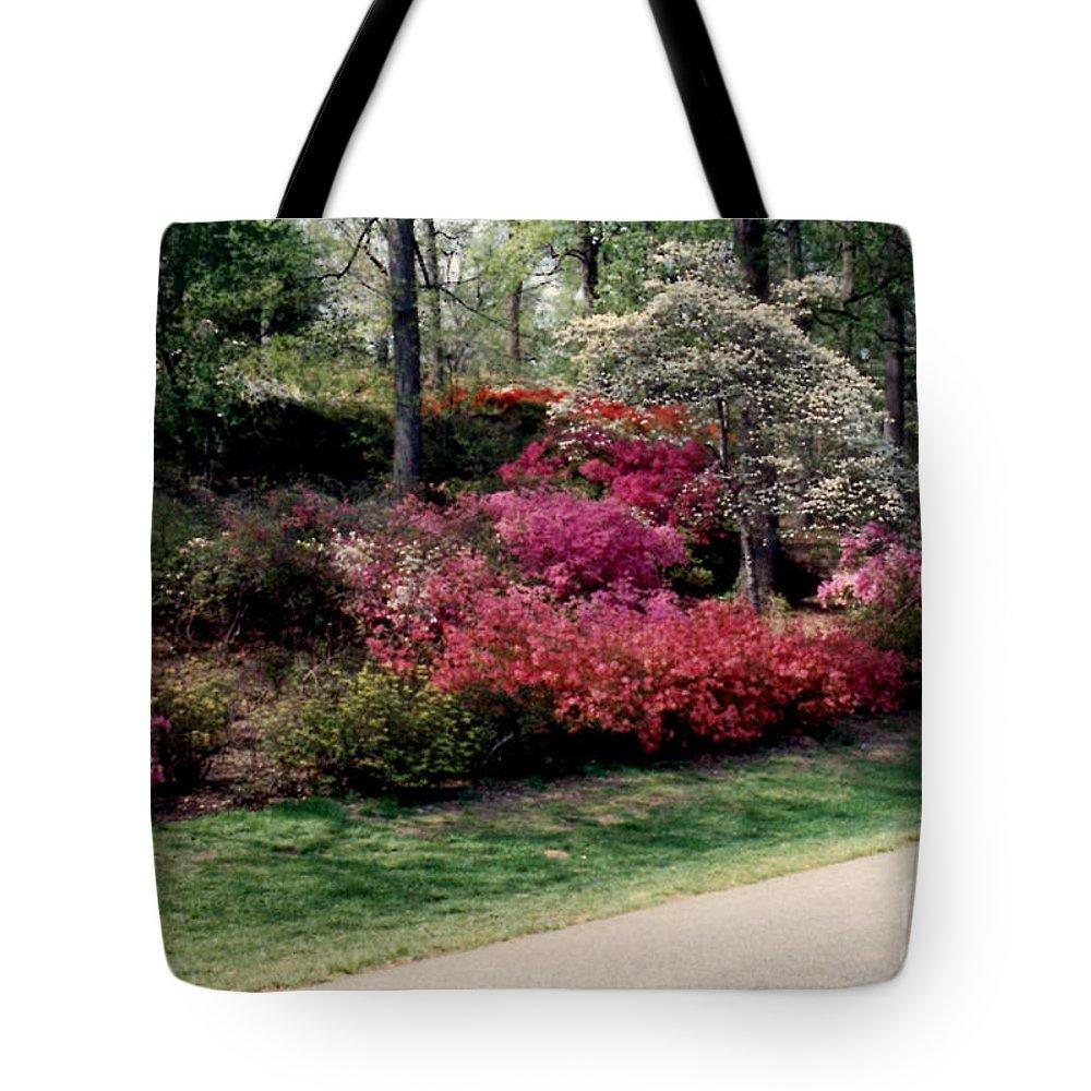 Azaleas Tote Bag featuring the photograph Azaleas And Dogwood by Ruth Housley