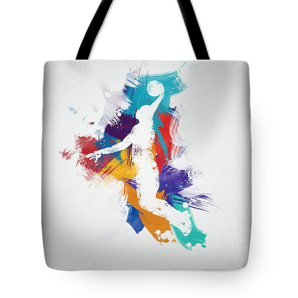 Abstract Tote Bag featuring the digital art Basketball Player by Aged Pixel