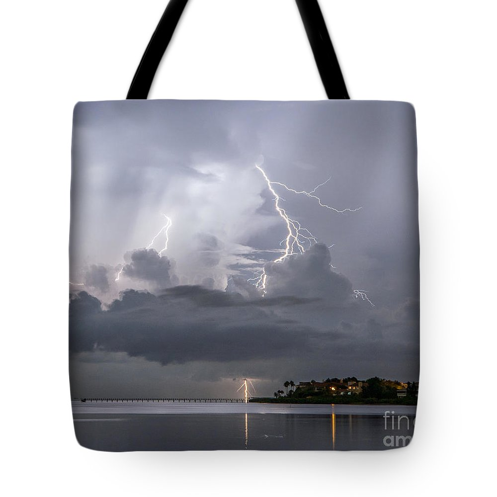 Lightning Tote Bag featuring the photograph Bay Street Lightning by Stephen Whalen