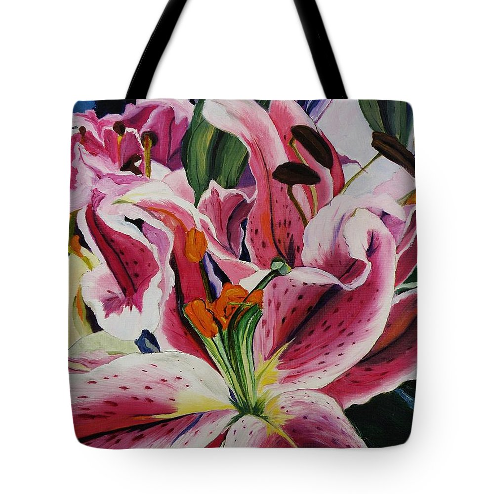 Floral Tote Bag featuring the painting Becky's Lilies by Nancy Milano