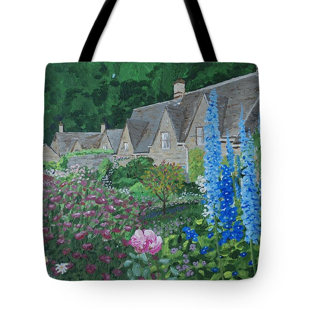 Gardens Tote Bag featuring the painting Bibury Gardens by Keith Wilkie