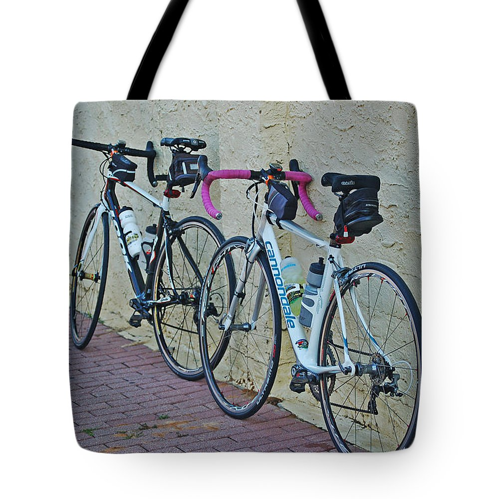 Mobile Tote Bag featuring the digital art 2 Bikes Against Wall by Michael Thomas