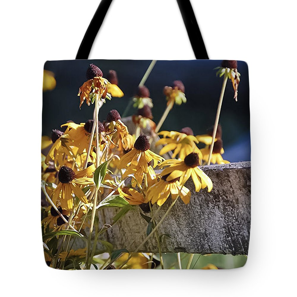 Flora Tote Bag featuring the photograph black eyed Susan by Scott Staley