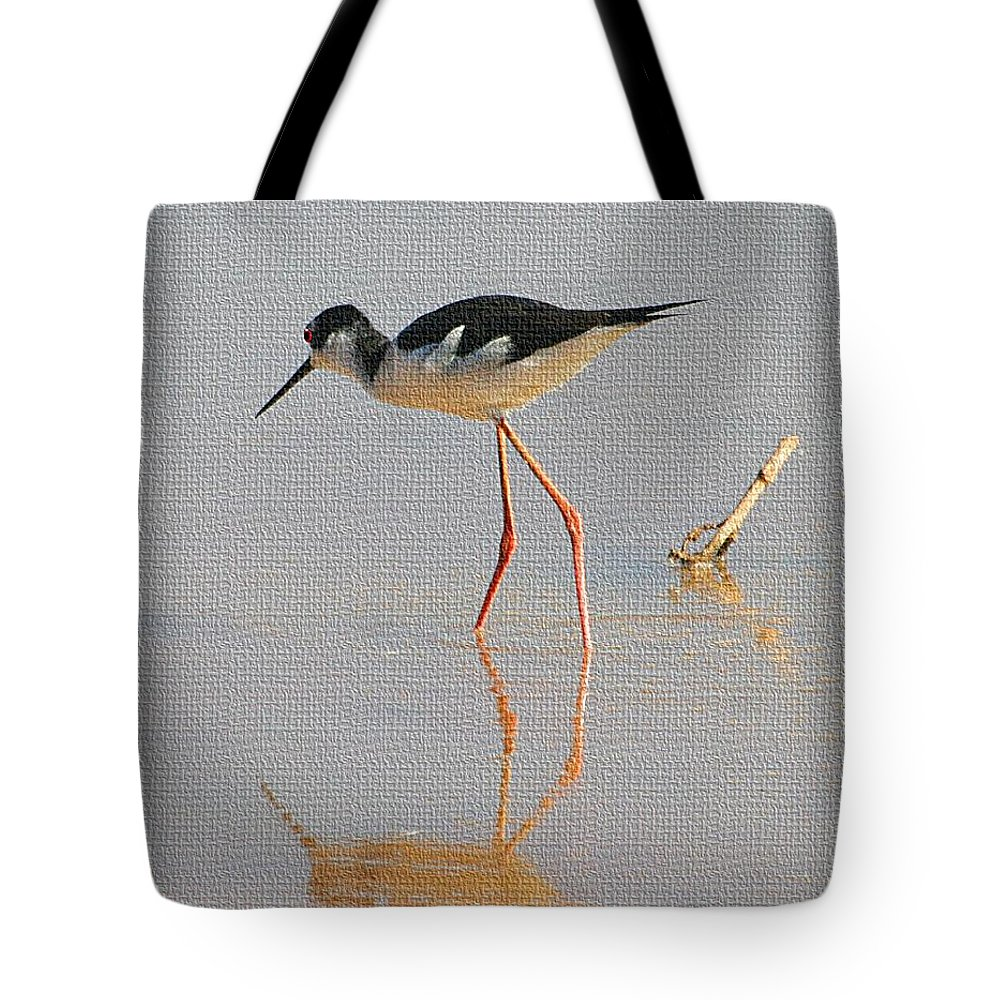 Pelican Flying Low Tote Bag featuring the photograph Black Neck Stilt by Tom Janca