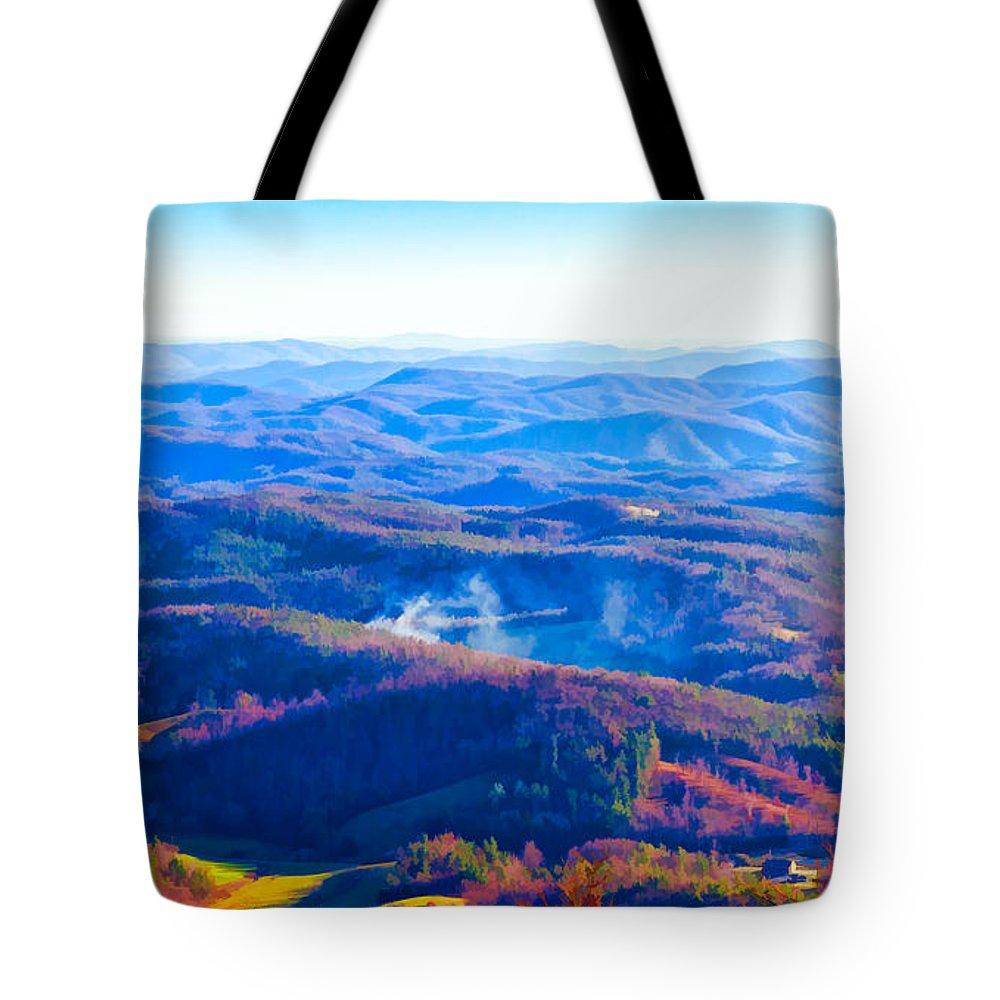 Blue Tote Bag featuring the photograph Blue Ridge Mountains by Les Palenik
