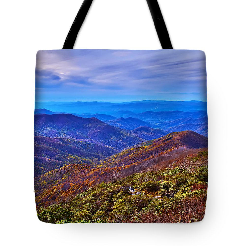 View Tote Bag featuring the photograph Blue Ridge Parkway by Alex Grichenko