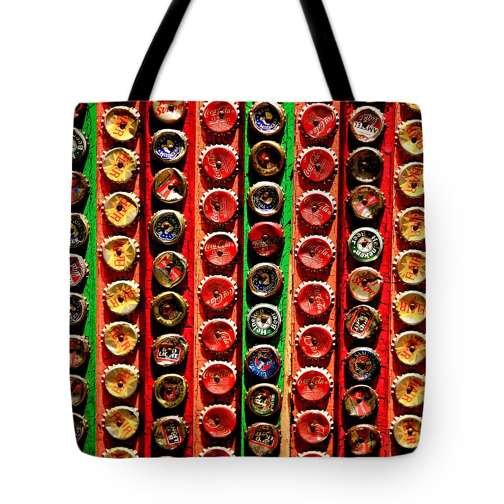 Caps Tote Bag featuring the photograph Bottle Caps by Art Block Collections