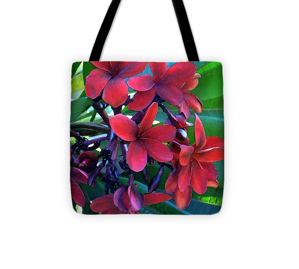 Hawaii Tote Bag featuring the photograph Burgundy Plumeria by James Temple