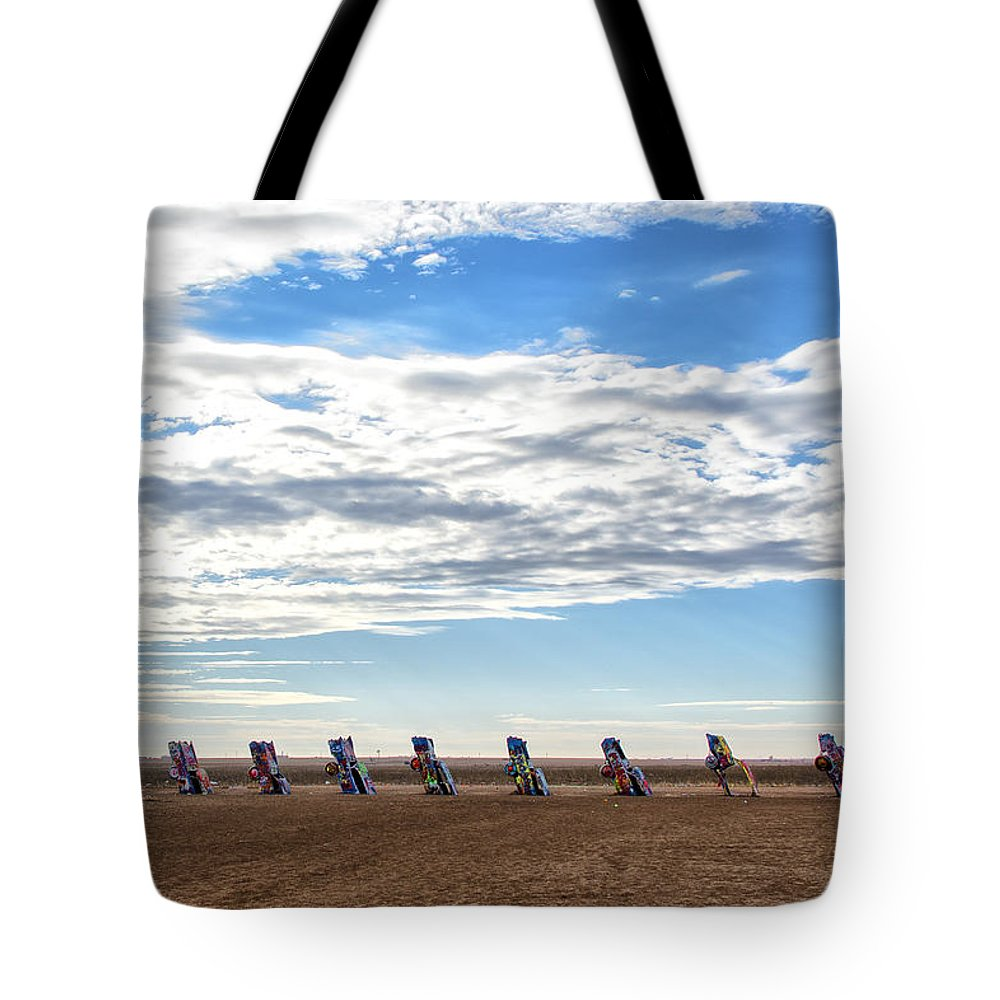 Spray Paint Tote Bag featuring the photograph Cadillac Ranch by Gej Jones