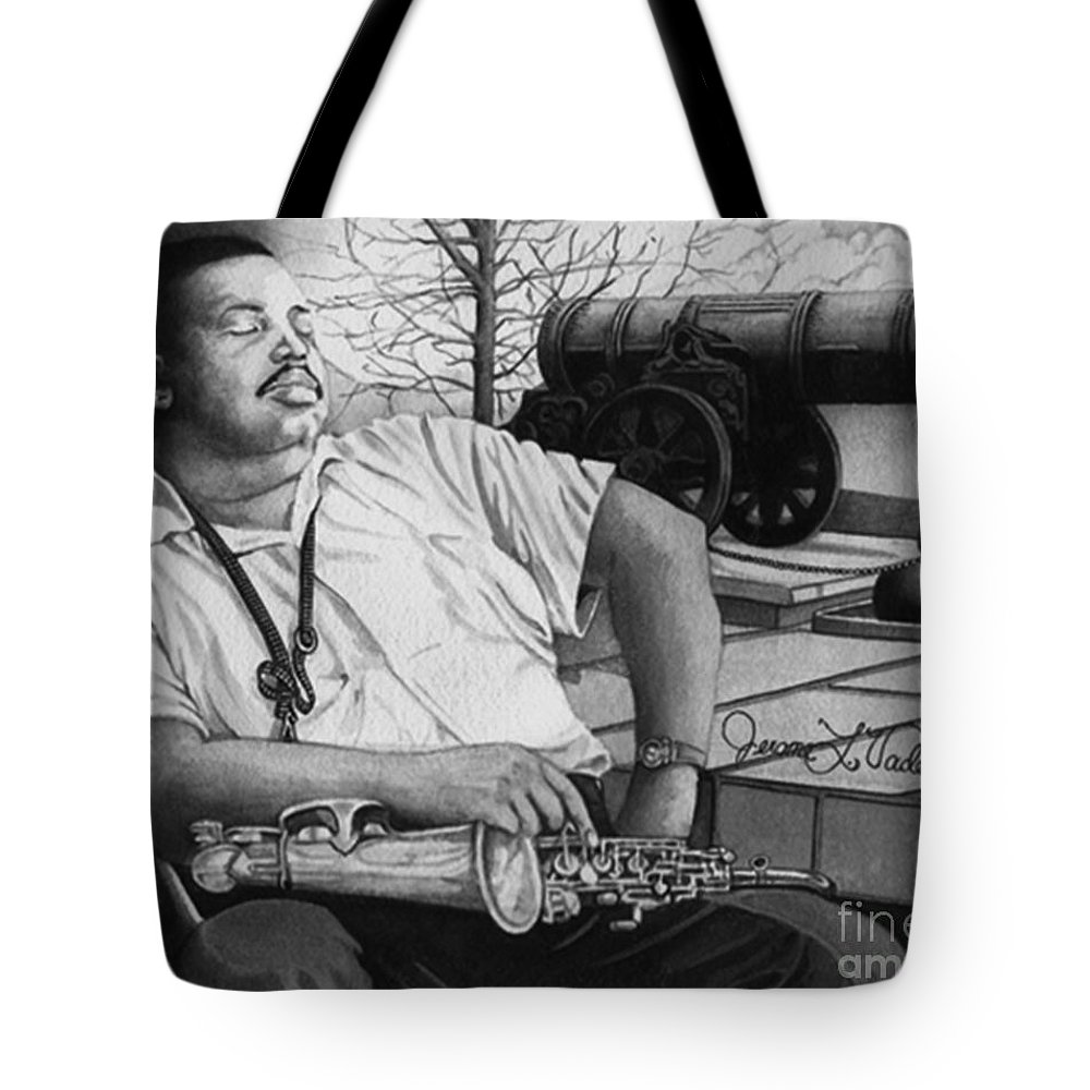 Jazz Tote Bag featuring the painting Jazz Cannonball Adderly by JL Vaden