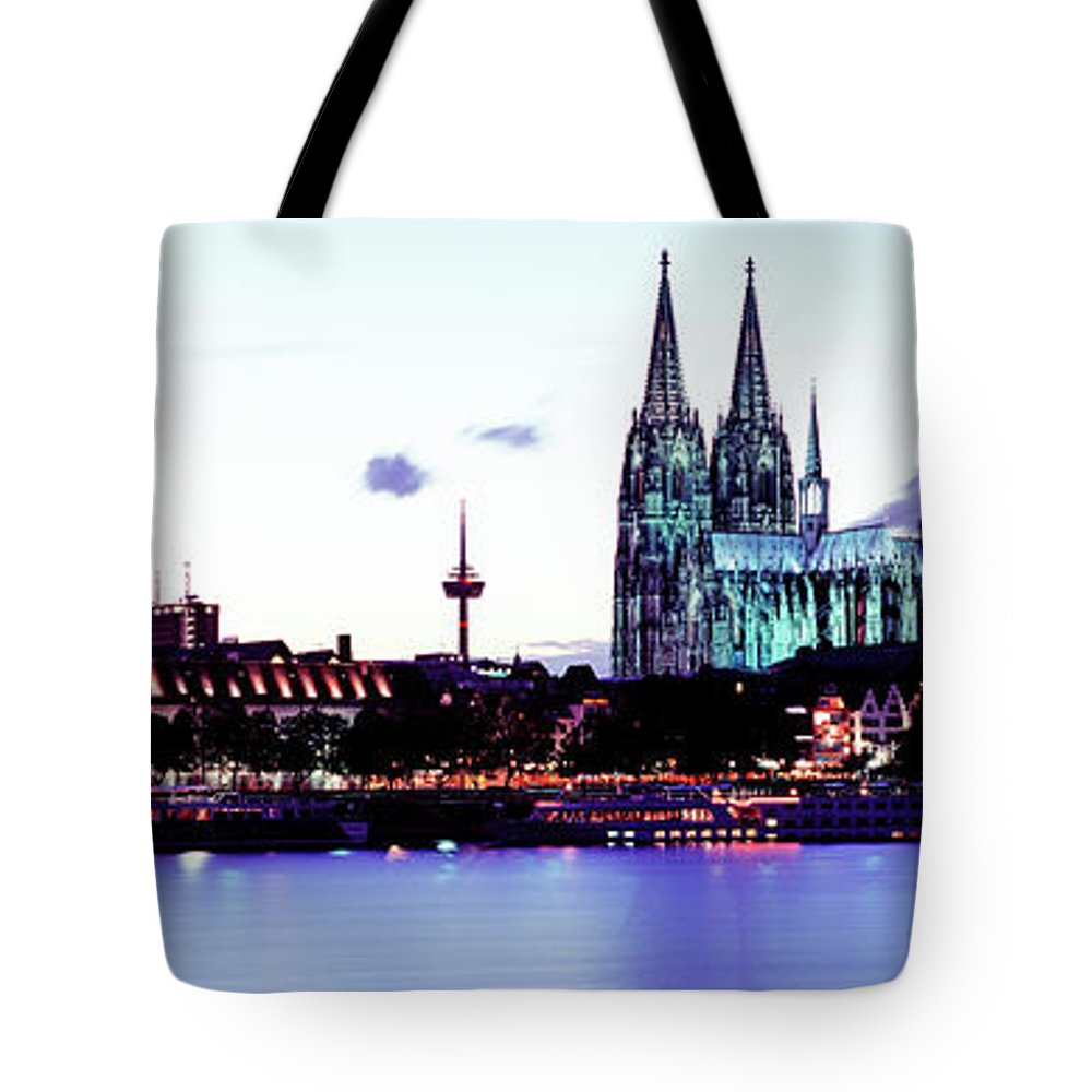Panoramic Tote Bag featuring the photograph Cathedral And Rhine River by Murat Taner