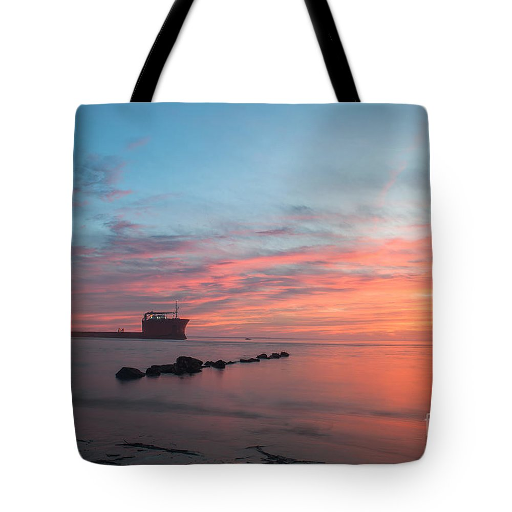 Sunset Tote Bag featuring the photograph Charleston Harbor Sunset by Dale Powell