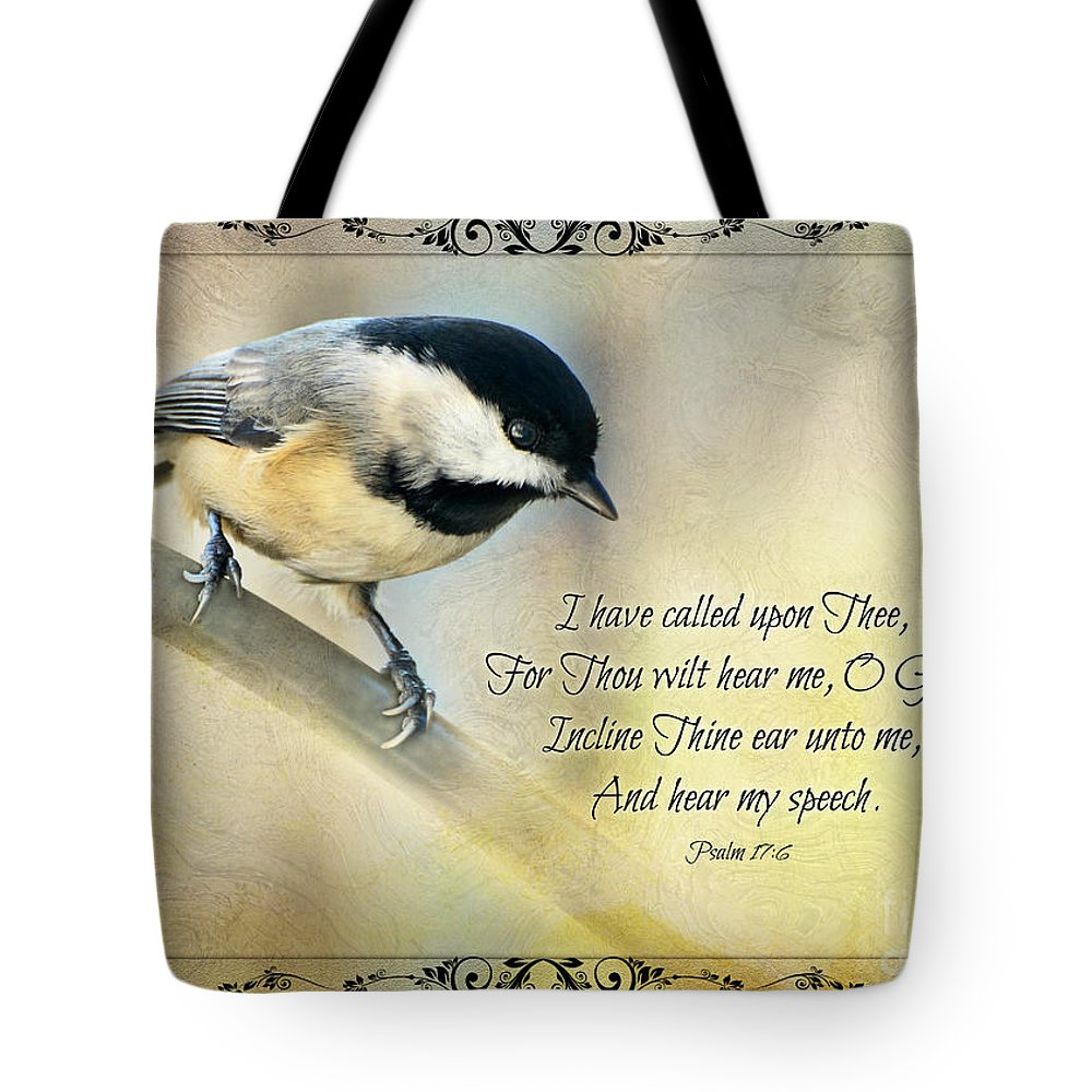 Nature Tote Bag featuring the photograph Chickadee With Verse by Debbie Portwood