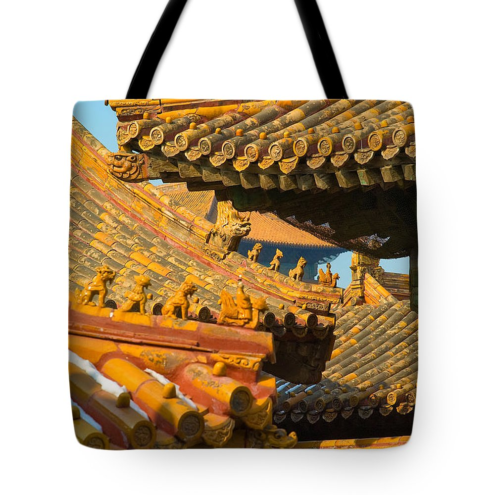 China Tote Bag featuring the photograph China Forbidden City Roof Decoration by Sebastian Musial