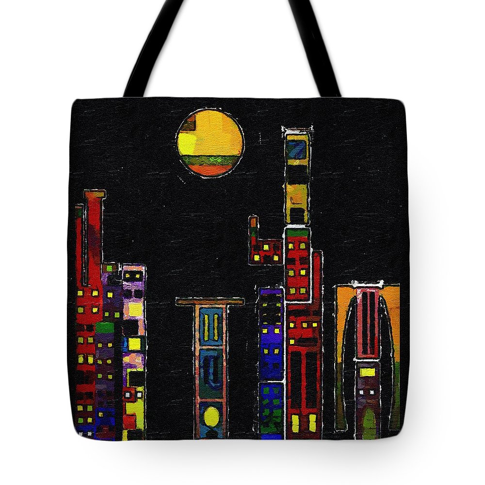 City Tote Bag featuring the painting Chinatown by RC DeWinter