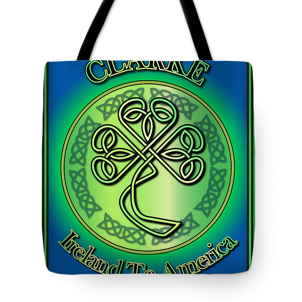 Clarke Tote Bag featuring the digital art Clarke Ireland To America by Ireland Calling